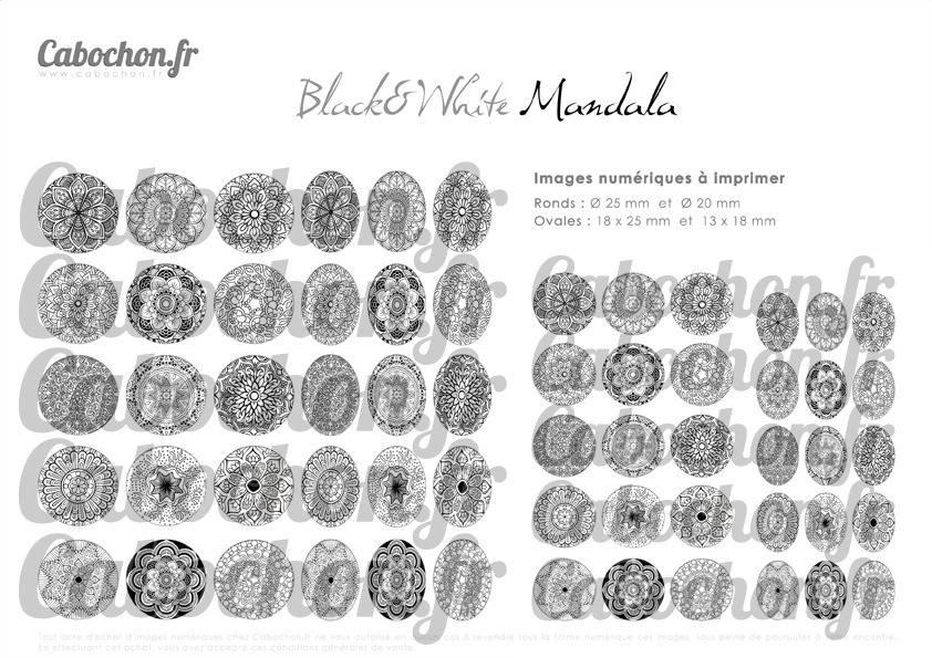 ☆ 60 Images Digitales / Numériques RONDES 25 et 20 mm et OVALES 18x25 et 13x18 mm ° Black & White Mandala ° - Page d'images pour cabochons