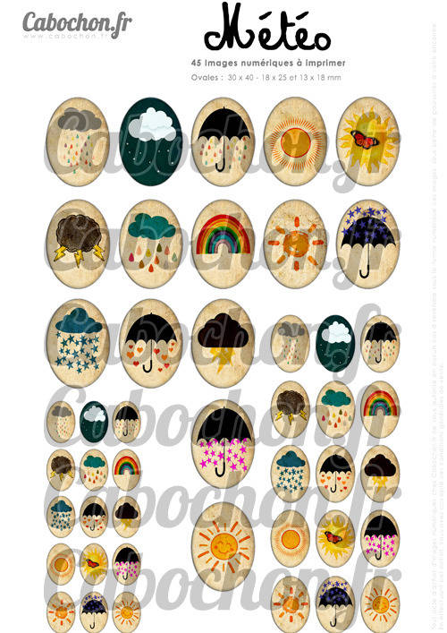☆ 45 Images Digitales / Numériques OVALES 30x40 18x25 et 13x18 mm ° Météo ° - Page digitale pour cabochons
