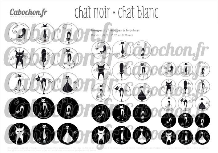 Chat noir Chat blanc ☆ 45 Images Digitales RONDES 30 25 et 20 mm Ombre silhouette page cabochons cabochon miroirs badges