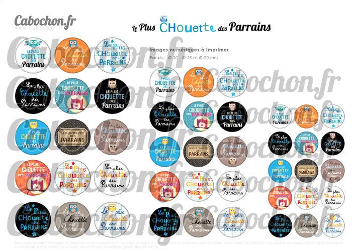 ☆ 45 Images Numériques RONDES 30 25 et 20 mm ° Le Plus Chouette des Parrains ° - Page de collage digital pour cabochons