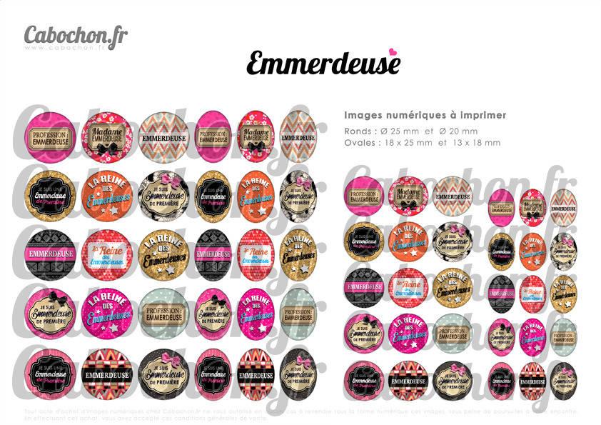 ☆ 60 Images Digitales / Numériques RONDES 25 et 20 mm et OVALES 18x25 et 13x18 mm ° Emmerdeuse ° - Page d'images pour cabochons