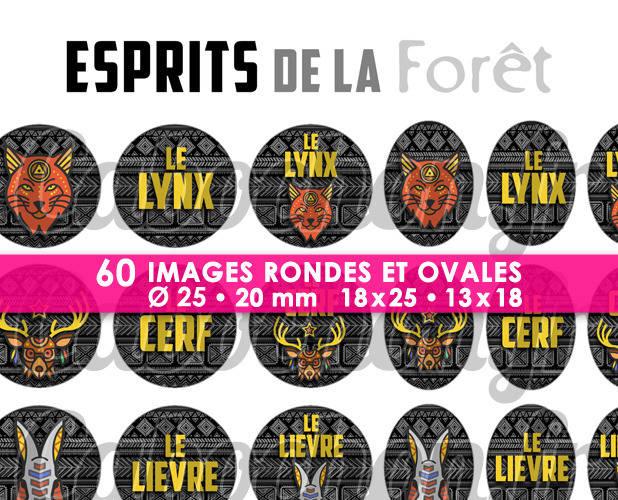 ☆ 60 Images Digitales / Numériques RONDES 25 et 20 mm et OVALES 18x25 et 13x18 mm ° Esprits de la Forêt ll ° - Page d'images pour cabochons