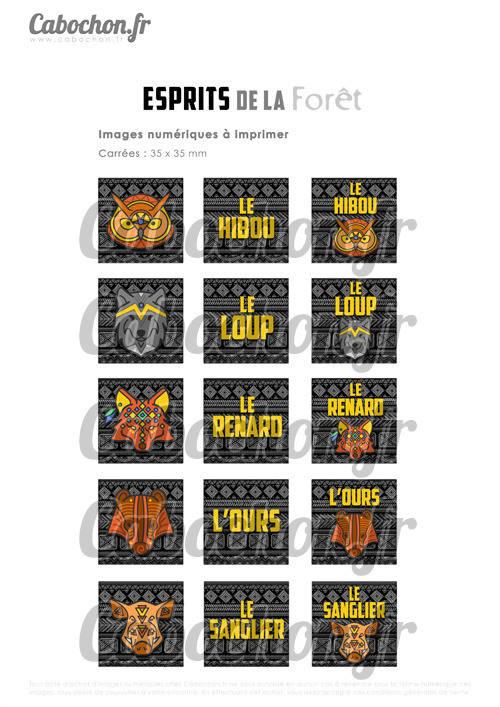 ☆ 15 Images Digitales / Numériques CARREES 35 mm ° Esprits de la Forêt ° - Page digitale de cabochons à imprimer