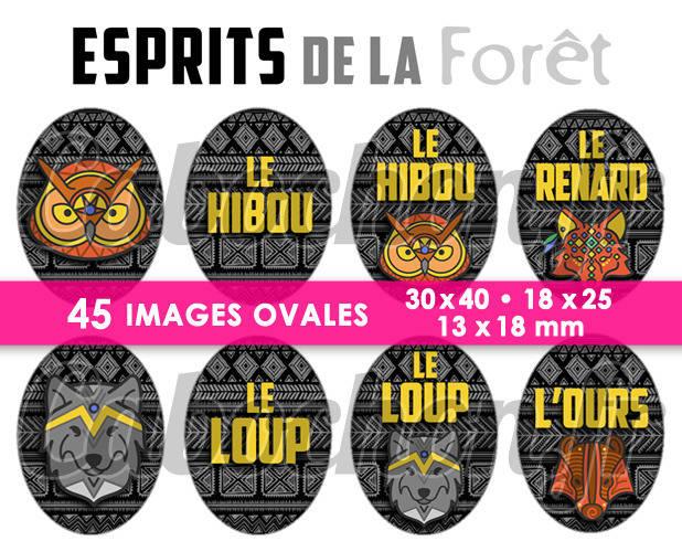 ☆ 45 Images Digitales / Numériques OVALES 30x40 18x25 et 13x18 mm ° Esprits de la Forêt ° - Page digitale pour cabochons