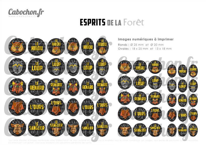 ☆ 60 Images Digitales / Numériques RONDES 25 et 20 mm et OVALES 18x25 et 13x18 mm ° Esprits de la Forêt ° - Page d'images pour cabochons