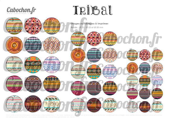 ☆ 45 Images Numériques RONDES 30 25 et 20 mm ° Tribal ll ° - Page de collage digital pour cabochons
