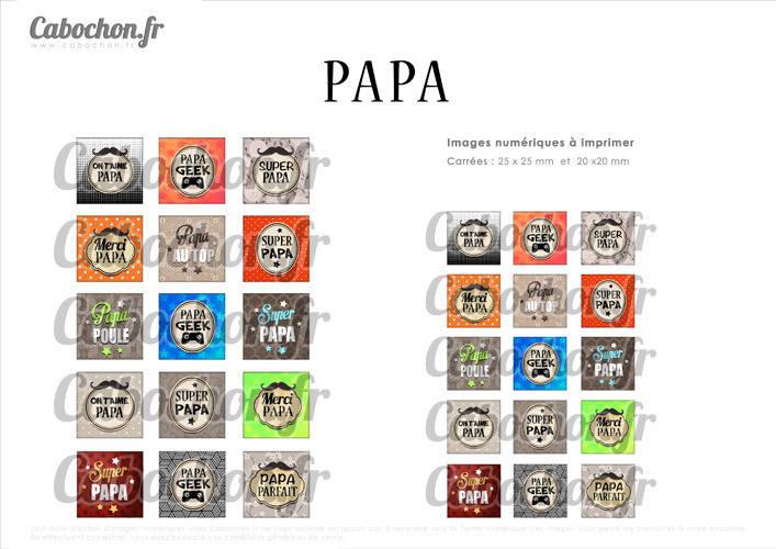 ☆ 30 Images Digitales / Numériques CARREES 25 et 20 mm ° Papa ° - Page digitale de cabochons à imprimer