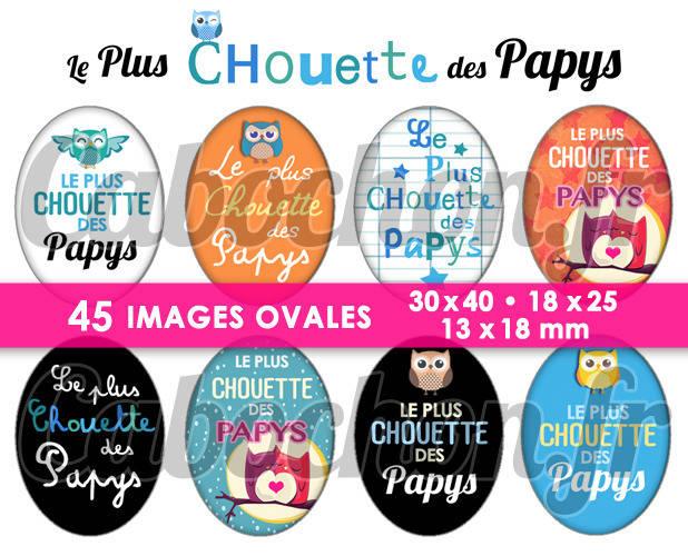 ☆ 45 Images Digitales / Numériques OVALES 30x40 18x25 et 13x18 mm ° Le Plus CHouette des Papys ° - Page digitale pour cabochons