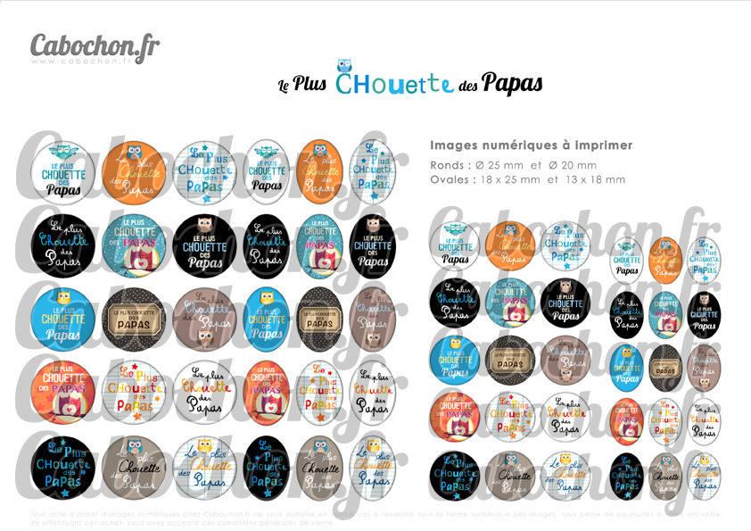 ☆ 60 Images Digitales / Numériques RONDES 25 et 20 mm et OVALES 18x25 et 13x18 mm ° Le Plus Chouette des Papas ° - Page d'images pour cabochons