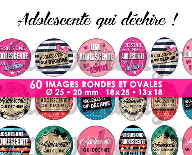 ☆ 60 Images Digitales / Numériques RONDES 25 et 20 mm et OVALES 18x25 et 13x18 mm ° Adolescente qui déchire ! ° - Page d'images pour cabochons
