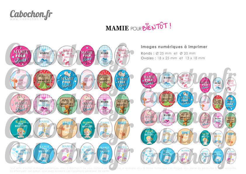 ☆ 60 Images Digitales / Numériques RONDES 25 et 20 mm et OVALES 18x25 et 13x18 mm ° Mamie pour Bientôt ! ° - Page d'images pour cabochons