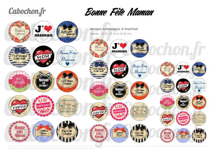 Bonne Fête Maman ☆ 45 Images Digitales RONDES 30 25 et 20 mm mere noeud coeur Page cabochon liberty badge miroir