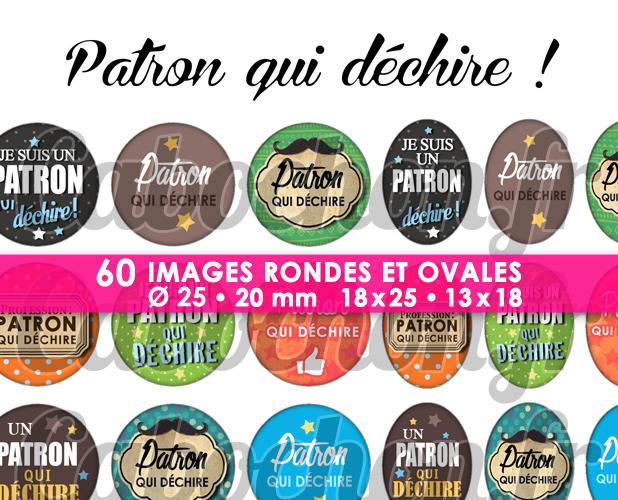 ☆ 60 Images Digitales / Numériques RONDES 25 et 20 mm et OVALES 18x25 et 13x18 mm ° Patron qui déchire ! ° - Page d'images pour cabochons