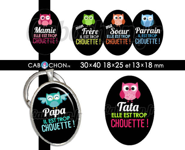 Chouette Famille ☆ 45 Images Digitales OVALES 30x40 18x25 et 13x18 mm hibou maman papa mamie tata cabochon cabochons
