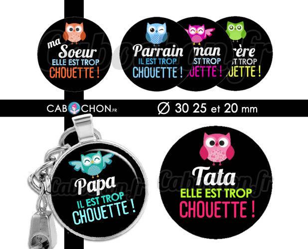 Chouette Famille ☆ 45 Images Digitales RONDES 30 25 et 20 mm hibou maman papa mamie tata marraine cabochons bijoux miroirs