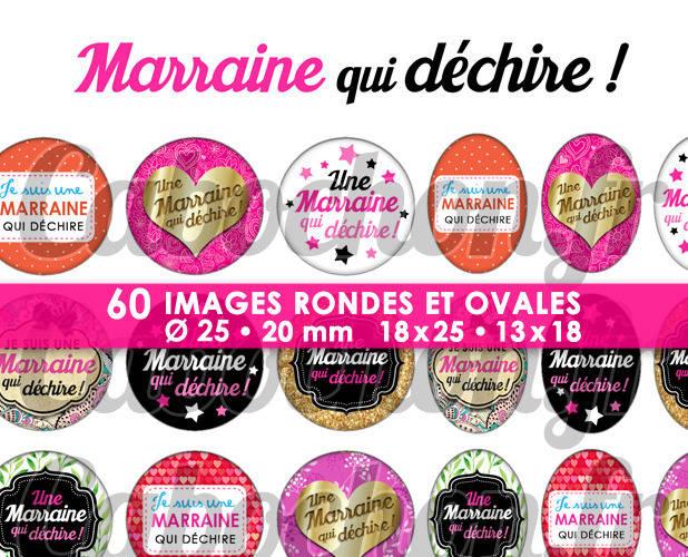 ☆ 60 Images Digitales / Numériques RONDES 25 et 20 mm et OVALES 18x25 et 13x18 mm ° Marraine qui déchire ll ° - Page d'images pour cabochons