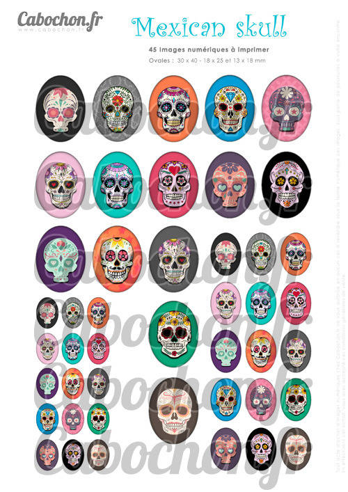 ☆ 45 Images Digitales / Numériques OVALES 30x40 18x25 et 13x18 mm ° Mexican Skull lll ° - Page digitale pour cabochons