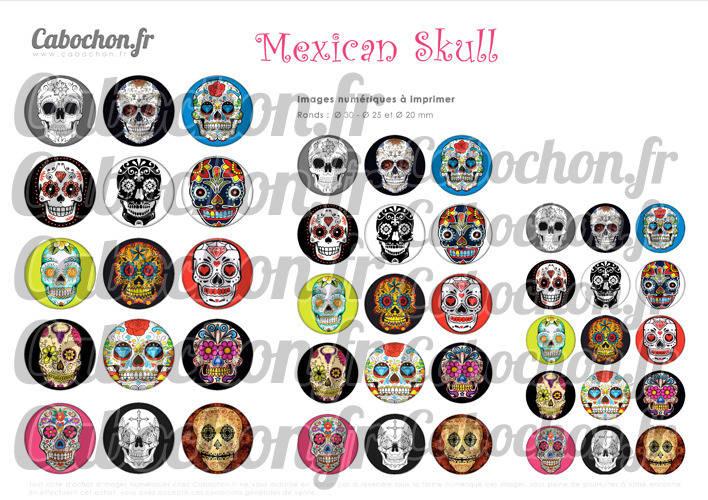 ☆ 45 Images Digitales / Numériques RONDES 30 25 et 20 mm ° Mexican Skull ll ° - Page digitale de cabochons à imprimer