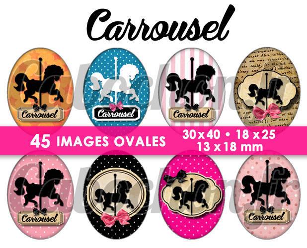 ☆ 45 Images Digitales / Numériques OVALES 30x40 18x25 et 13x18 mm ° Carrousel ° - Page digitale pour cabochons