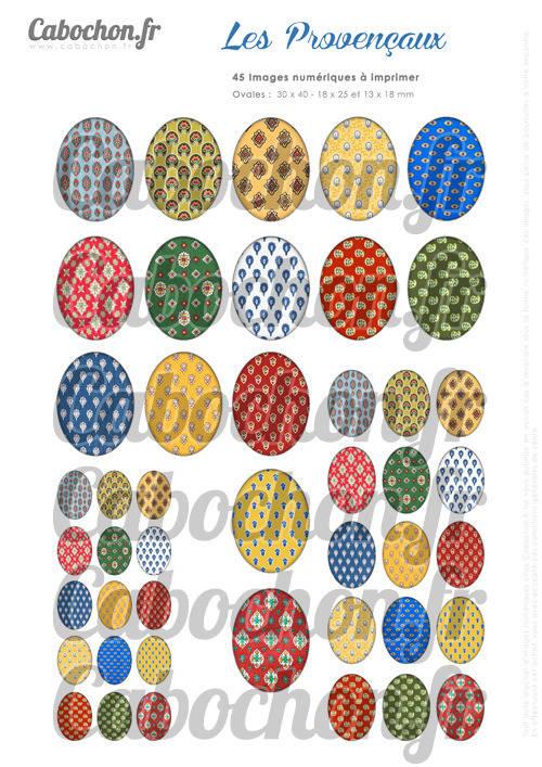 ☆ 45 Images Digitales / Numériques OVALES 30x40 18x25 et 13x18 mm ° Les Provençaux ° - Page digitale pour cabochons