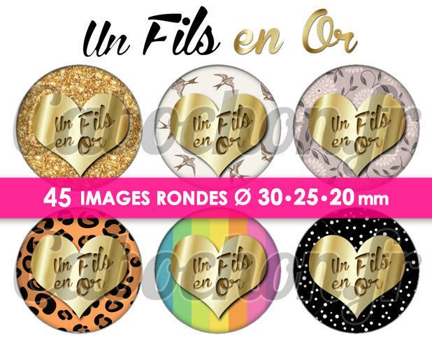 ☆ 45 Images Digitales / Numériques RONDES 30 25 et 20 mm ° Un Fils en Or ° - Page digitale de cabochons à imprimer