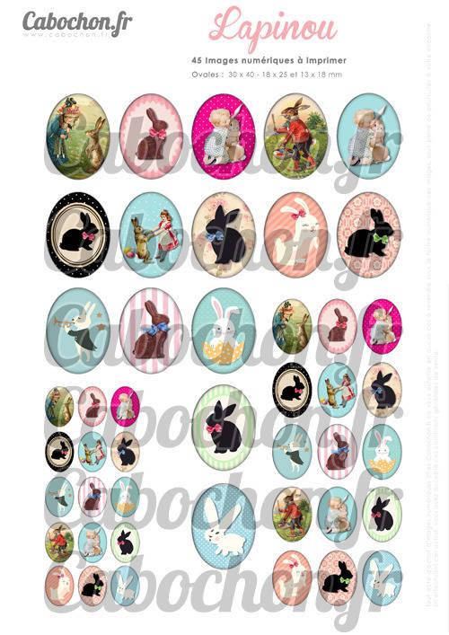 ☆ 45 Images Digitales / Numériques OVALES 30x40 18x25 et 13x18 mm ° Lapinou ° - Page digitale pour cabochons