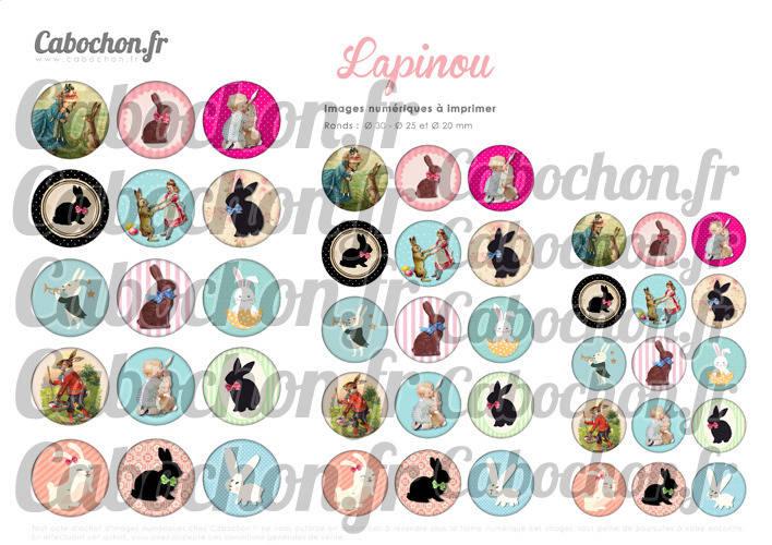 ☆ 45 Images Digitales / Numériques RONDES 30 25 et 20 mm ° Lapinou ° - Page digitale de cabochons à imprimer