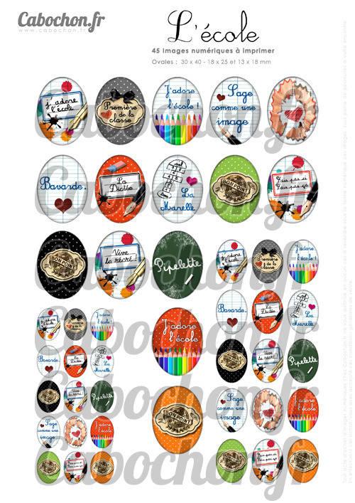 ☆ 45 Images Digitales / Numériques OVALES 30x40 18x25 et 13x18 mm ° L' Ecole ll ° - Page digitale pour cabochons badges miroirs bijoux