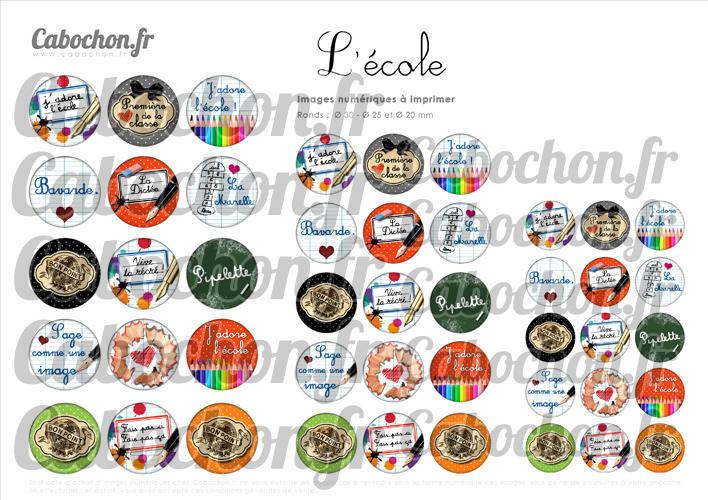 ☆ 45 Images Digitales / Numériques RONDES 30 25 et 20 mm ° L'Ecole ll ° - Page digitale de cabochons à imprimer