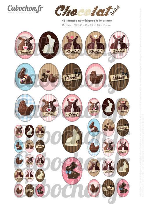 ☆ 45 Images Digitales / Numériques OVALES 30x40 18x25 et 13x18 mm ° Chocolat Addict ° - Page digitale pour cabochons