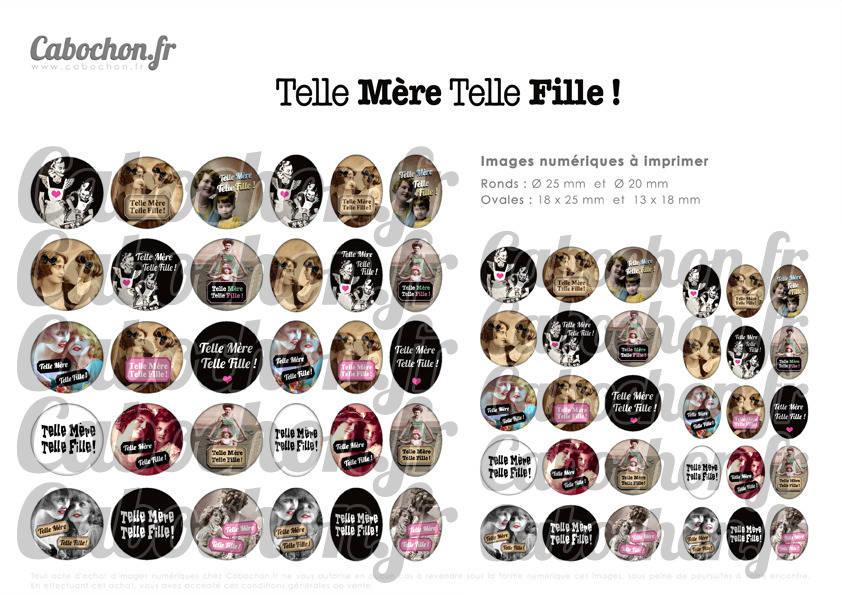 ☆ 60 Images Digitales / Numériques RONDES 25 et 20 mm et OVALES 18x25 et 13x18 mm ° Telle Mère Telle Fille ! ° - Page d'images pour cabochons