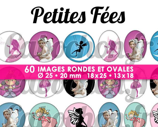 ☆ 60 Images Digitales / Numériques RONDES 25 et 20 mm et OVALES 18x25 et 13x18 mm ° Petites Fées ° - Page d'images pour cabochons