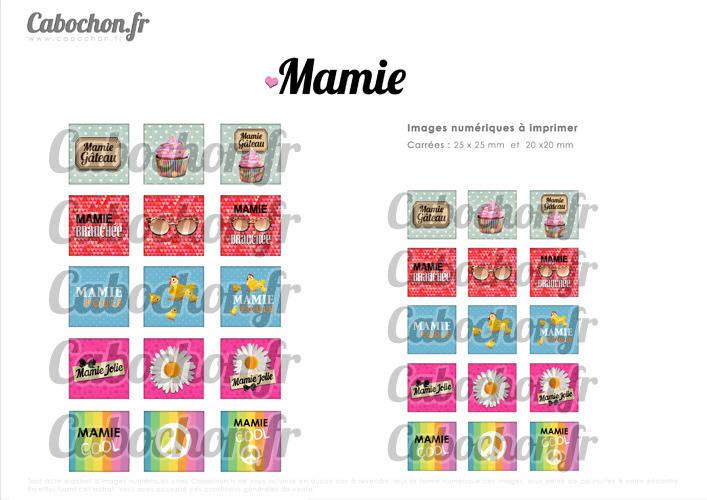 ☆ 30 Images Digitales / Numériques CARREES 25 et 20 mm ° Mamie ll ° - Page digitale de cabochons à imprimer