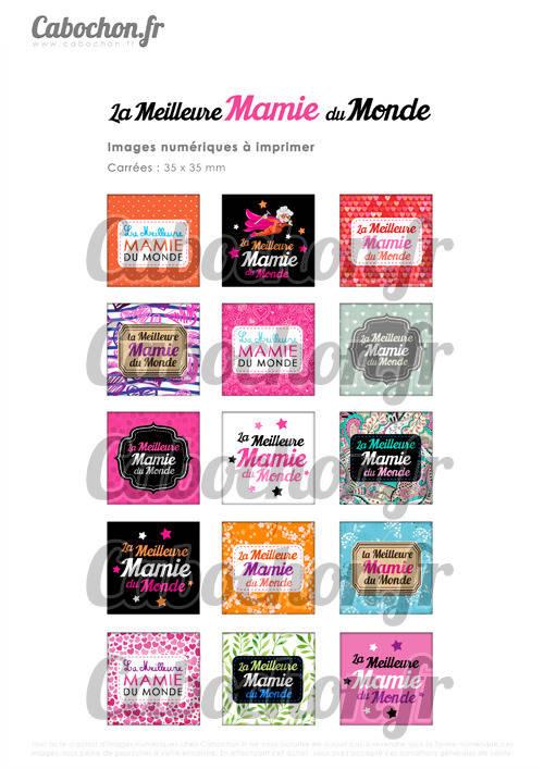☆ 15 Images Digitales / Numériques CARREES 35 mm ° La Meilleure Mamie du Monde ° - Page digitale de cabochons à imprimer