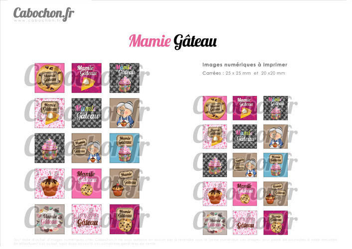 ☆ 30 Images Digitales / Numériques CARREES 25 et 20 mm ° Mamie Gâteau ° - Page digitale de cabochons à imprimer