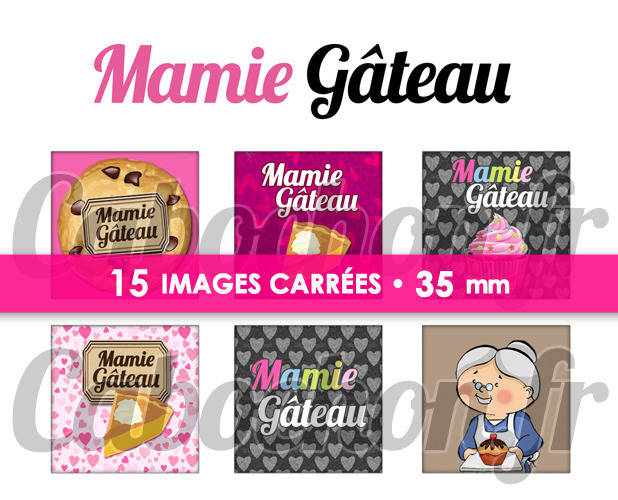 ☆ 15 Images Digitales / Numériques CARREES 35 mm ° Mamie Gâteau ° - Page digitale de cabochons à imprimer
