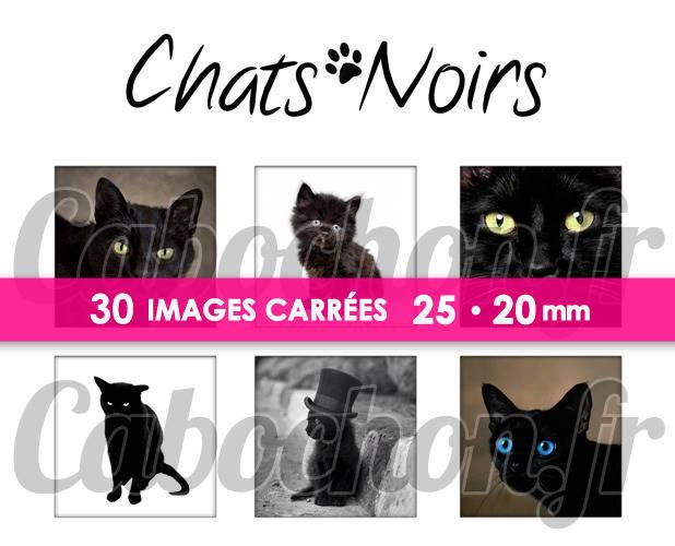 ☆ 30 Images Digitales / Numériques CARREES 25 et 20 mm ° Chats Noirs ° - Page digitale de cabochons à imprimer