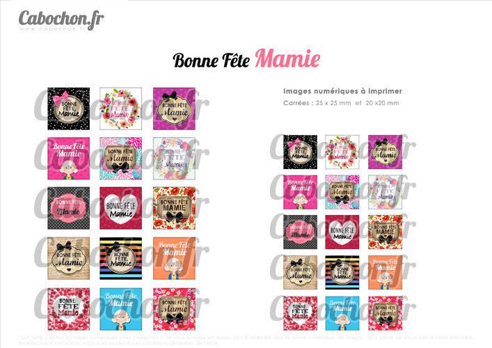 ☆ 30 Images Digitales / Numériques CARREES 25 et 20 mm ° Bonne Fête Mamie ll ° - Page digitale de cabochons à imprimer