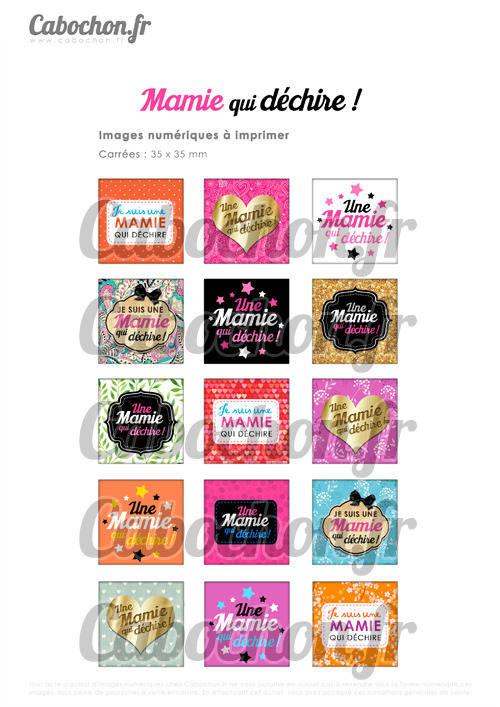 ☆ 15 Images Digitales / Numériques CARREES 35 mm ° Mamie qui déchire ! ll ° - Page digitale de cabochons à imprimer