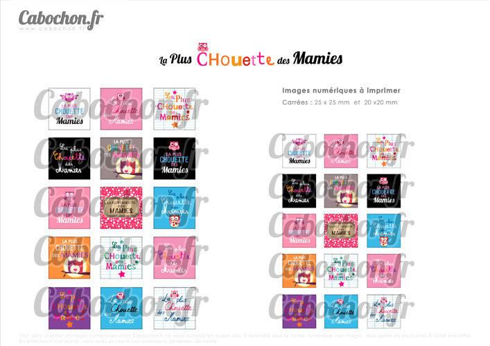 ☆ 30 Images Digitales / Numériques CARREES 25 et 20 mm ° La Plus Chouette des Mamies ° - Page digitale de cabochons à imprimer