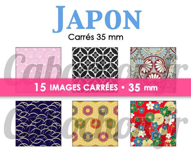 ☆ 15 Images Digitales / Numériques CARREES 35 mm ° Japon lV ° - Page digitale de cabochons à imprimer