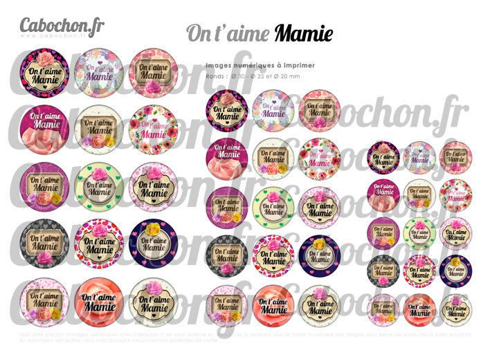 ☆ 45 Images Digitales / Numériques RONDES 30 25 et 20 mm ° On t'aime Mamie ll ° - Page digitale de cabochons à imprimer
