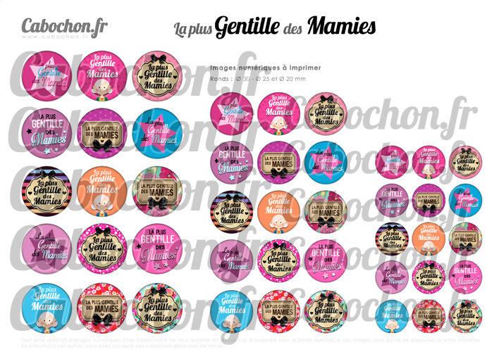 ☆ 45 Images Digitales / Numériques RONDES 30 25 et 20 mm ° La plus Gentille des Mamies ° - Page digitale de cabochons à imprimer