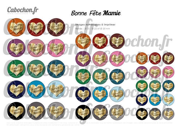 ☆ 45 Images Digitales / Numériques RONDES 30 25 et 20 mm ° Bonne Fête Mamie V ° - Page digitale de cabochons à imprimer