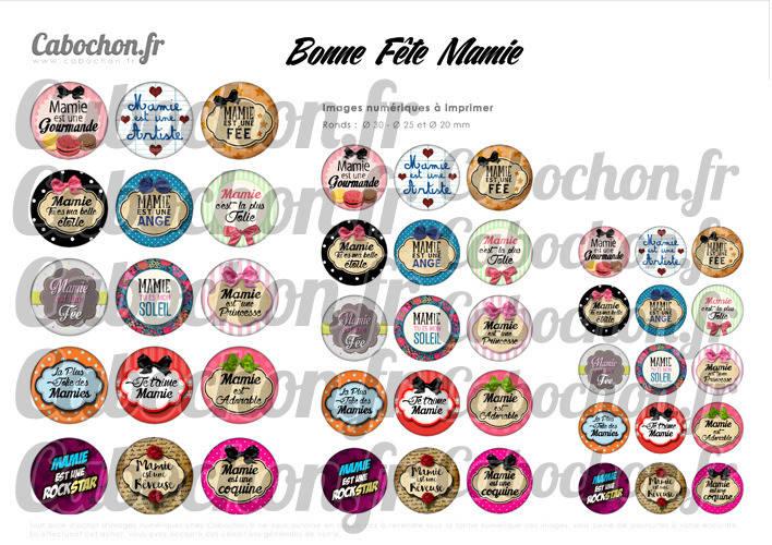 ☆ 45 Images Digitales / Numériques RONDES 30 25 et 20 mm ° Bonne Fête Mamie lV ° - Page digitale de cabochons à imprimer