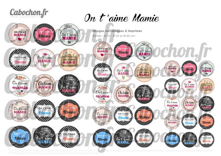 ☆ 45 Images Digitales / Numériques RONDES 30 25 et 20 mm ° On t'aime Mamie ° - Page digitale de cabochons à imprimer