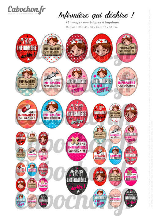 Infirmière qui déchire ☆ 45 Images Digitales Numériques OVALES 30x40 18x25 et 13x18 mm aide soignante Page cabochons badges