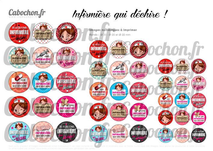 Infirmière qui déchire ☆ 45 Images Digitales RONDES 30 25 et 20 mm aide soignante Page cabochons badges miroirs seringue pensement hopital