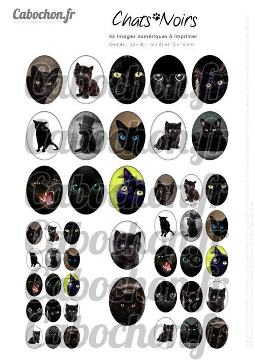 ☆ 45 Images Digitales / Numériques OVALES 30x40 18x25 et 13x18 mm ° Chats Noirs ° - Page digitale pour cabochons