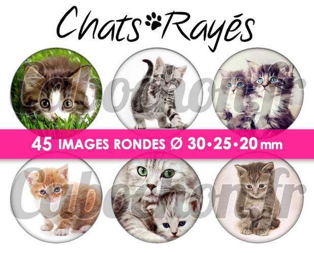 ☆ 45 Images Digitales / Numériques RONDES 30 25 et 20 mm ° Chats Rayés ° - Page digitale de cabochons à imprimer
